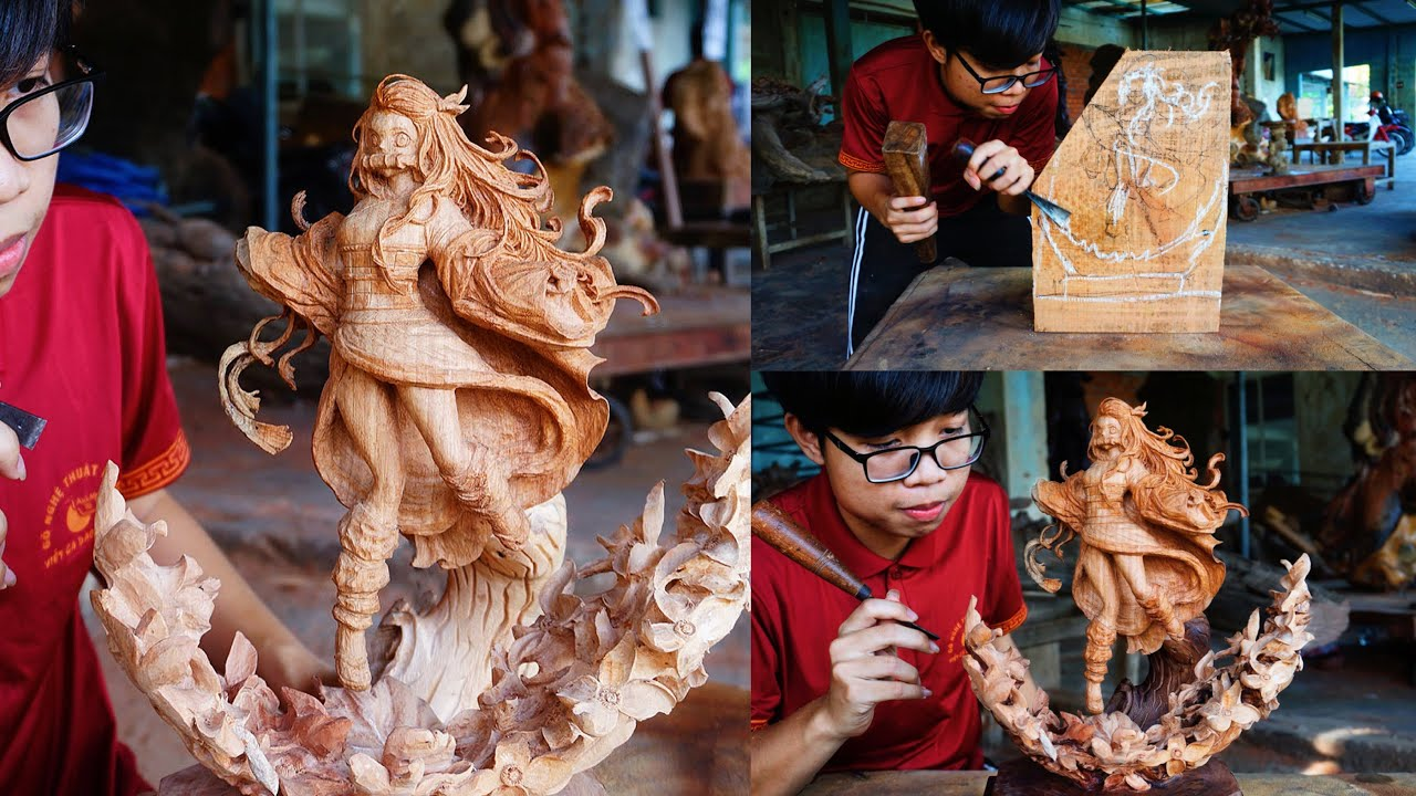 Carving Nezuko - Demon Slayer Out of Wood - Ingenious Chainsaw Skill Amazing Woodworking Techniques
