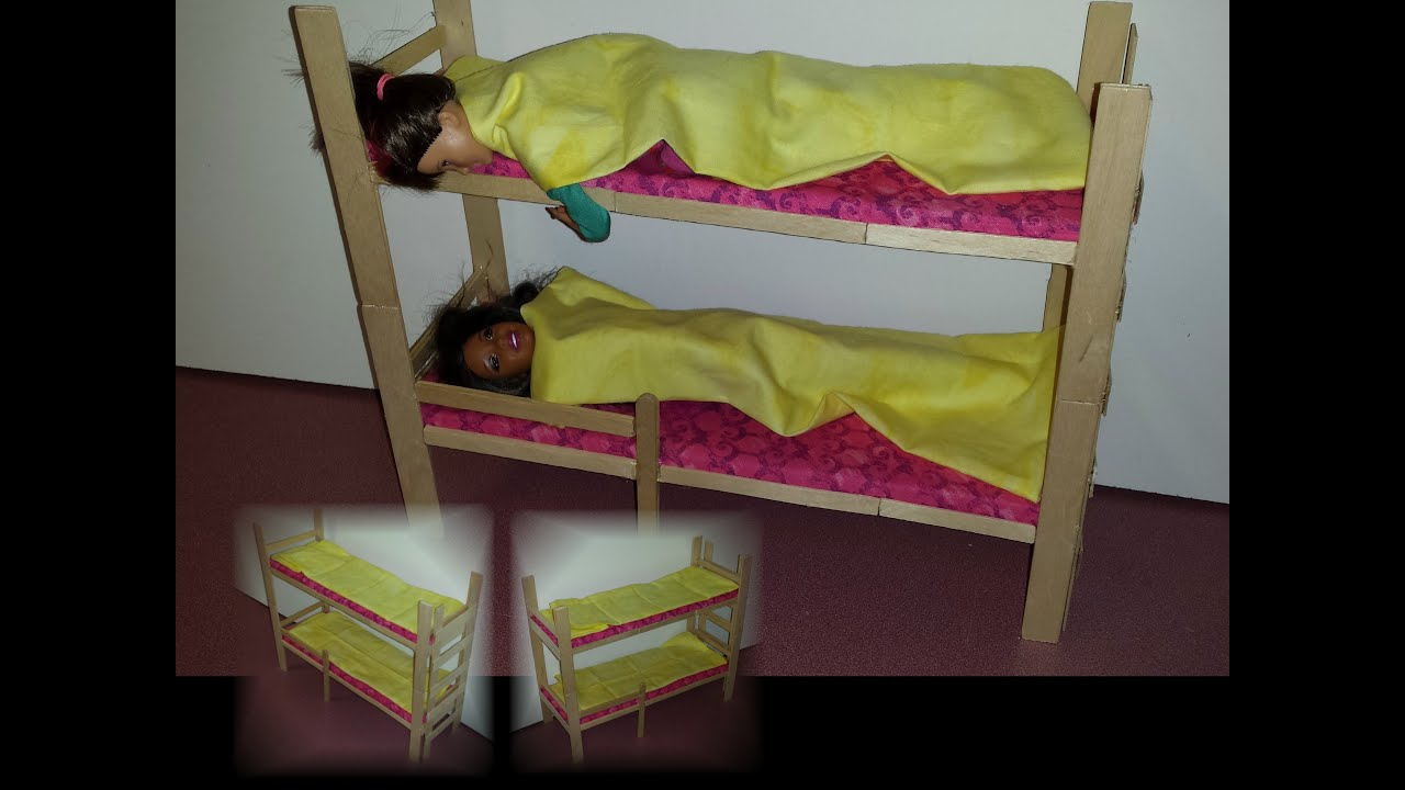 how to make doll bunk bed youtube. Black Bedroom Furniture Sets. Home Design Ideas