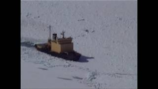 Antarctica  Ross Sea. Part 1. Aerial view of our icebreaker  stuck in pack ice