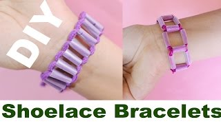 DIY How To Make Bracelets With Shoe Lace And Straw
