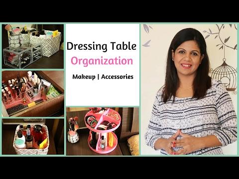 dressing table organization makeup organization youtube. Black Bedroom Furniture Sets. Home Design Ideas