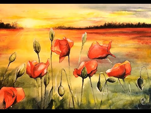 Watercolor Field Of Poppies Painting Demonstration Youtube
