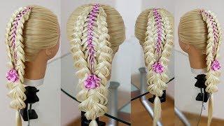 Красивая коса с лентой  Техника трёх кос  Причёска для девочки  Trenza con cinta  Braid