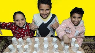 تحدي أكواب الحظ مع مرام ومازن ومنار 🥤🥤 وش طلع لنا !!؟ 🙈