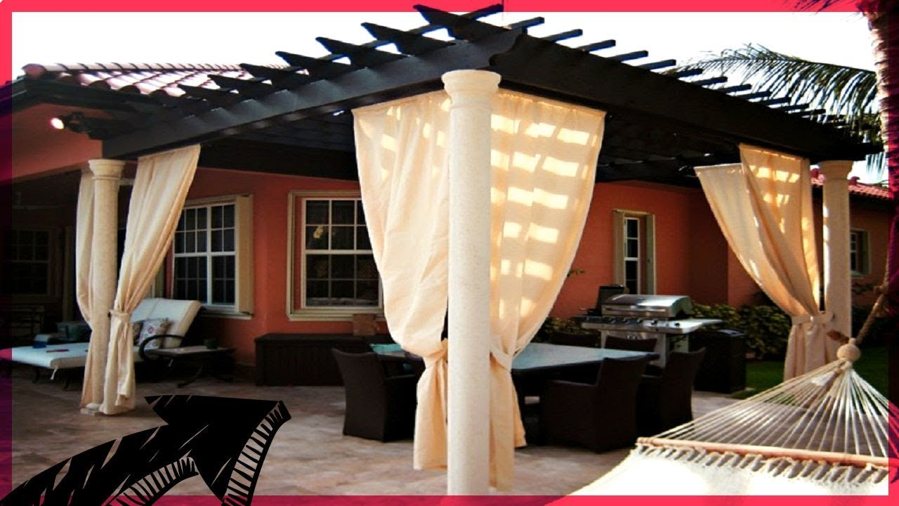 Ideas de p rgolas con cortina youtube for Argollas con pinzas para cortinas