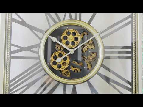 Milano Steampunk Vintage Silver Moving Gear Wall Clock
