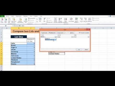 Excel Compare two Lists and Get Common Values - YouTube