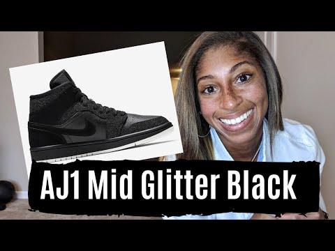 TJ - Air Jordan 1 Mid Glitter Black