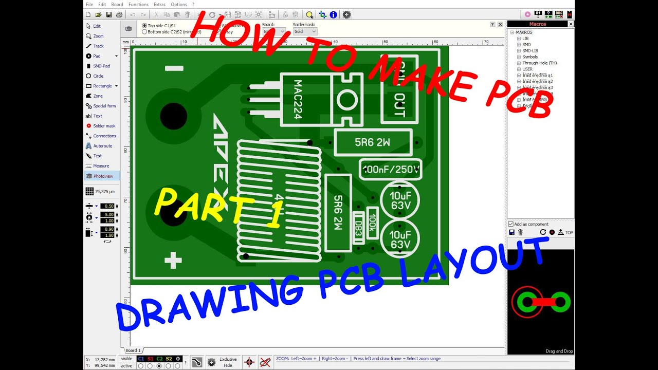 How to make PCB - Part 1 - Drawing PCB in Sprint Layout - YouTube
