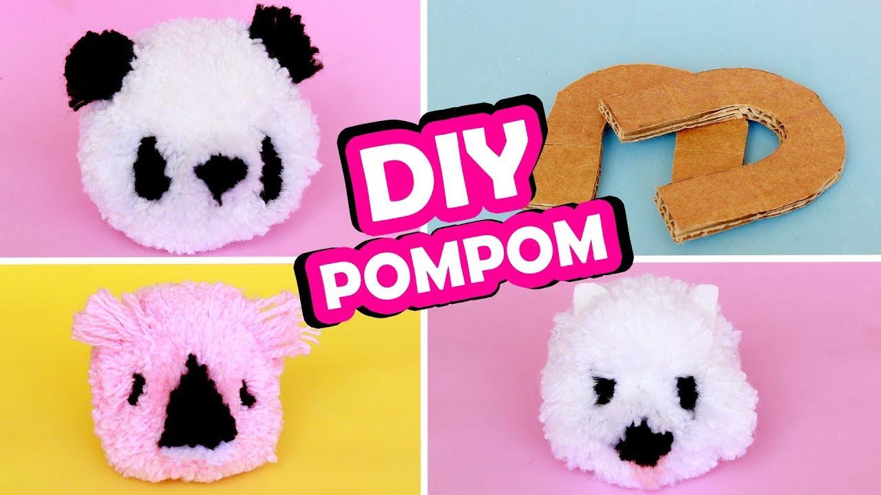 DIY POMPOM de lã- Panda Coala e Cachorrinho + MOLDE CASEIRO Ep 1 ... 2827db1c779