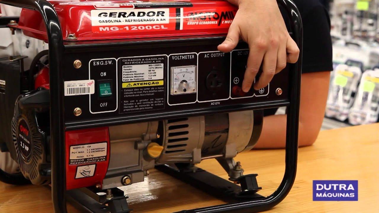80099b21cd5 Motomil - Gerador de Energia à Gasolina MG1200CL - YouTube