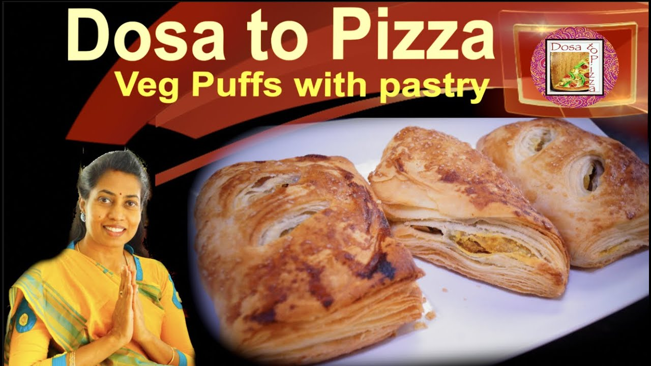 Veg Puff recipe with pastry    vegetable puffs   French bakery style puff pastry - crispy layers