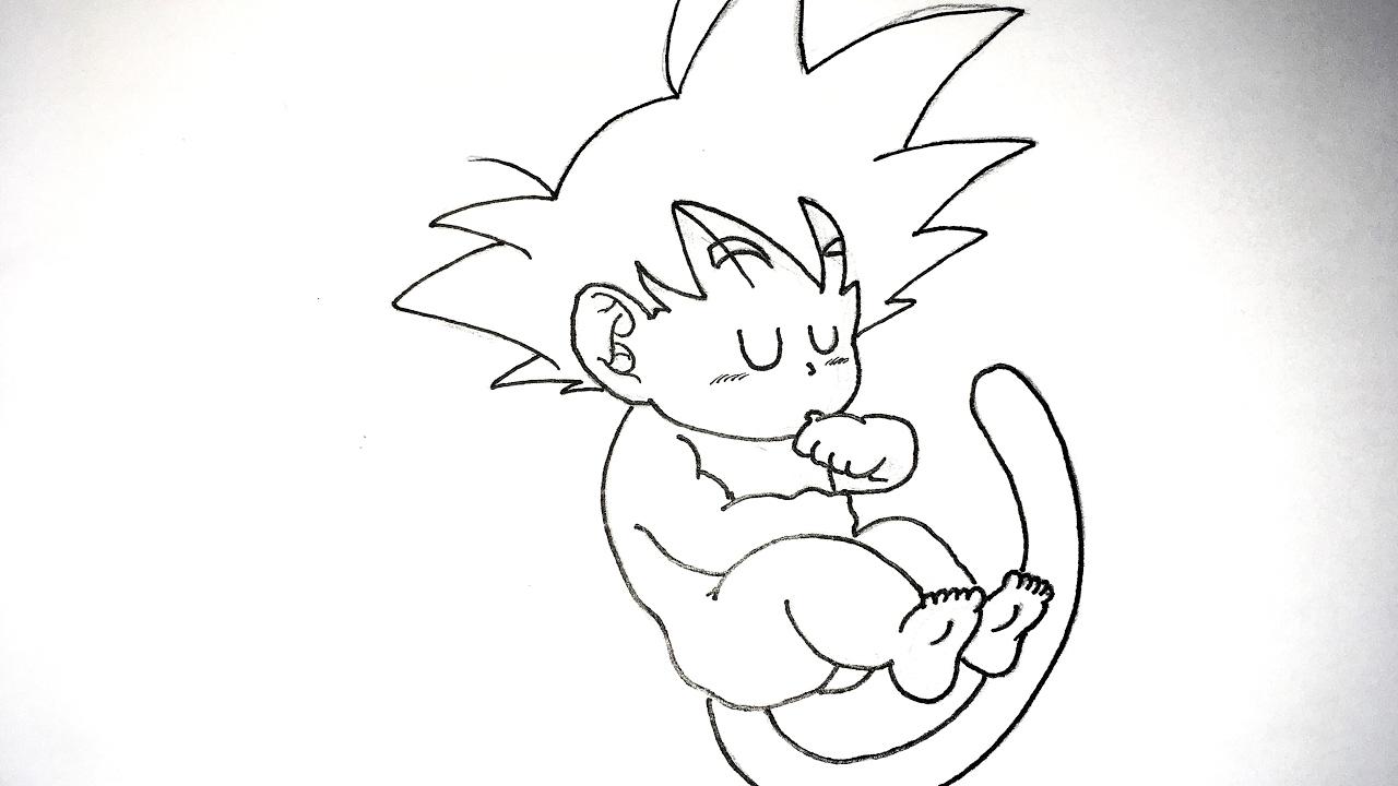 50 Imágenes De Goku Para Dibujar: Dragon Ball: Cómo Dibujar A Goku Bebé A Lápiz Paso A Paso