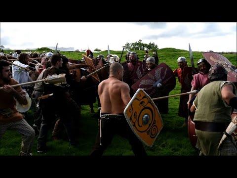 British history enthusiasts reenact Roman battle