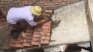 Construction Stairs By Brick Sand And Cement Easy - Install Brick On Stairs Step By Step