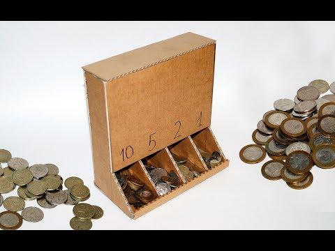 DIY Coin Sorting Machine from Cardboard. DIY projects ideas / Julia DIY