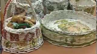 Плетение корзины из бумажных трубочек  Мастер класс
