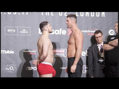 HUNG LIKE A RHINO!! DAVE ALLEN v DAVID HOWE - OFFICIAL WEIGH IN & HEAD TO HEAD / HAYE v BELLEW