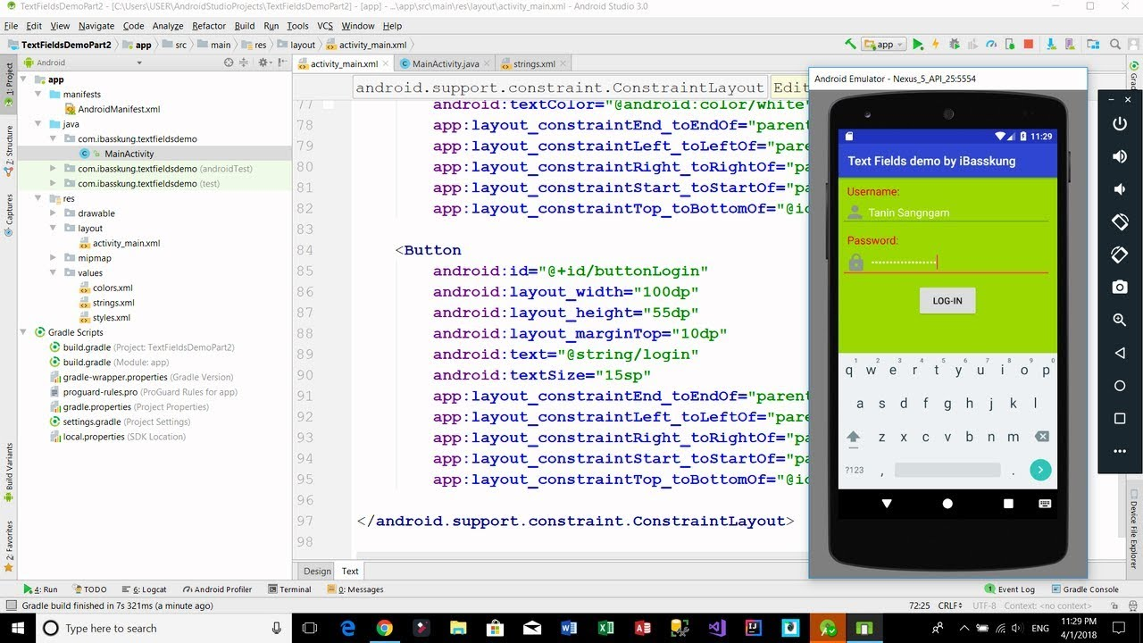 Android Login Screen - (EditText) Text Fields Example Part 1/3 (XML)