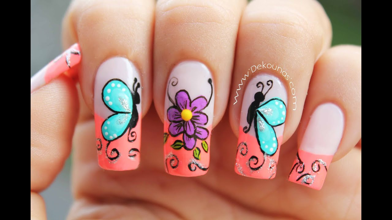 Decoracion de uñas mariposas y flores facil , Butterfly and flower nail art , YouTube