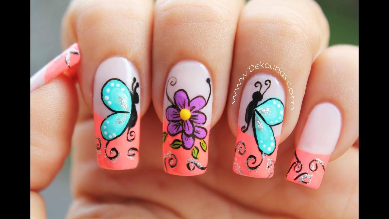 Decoracion De Uñas Mariposas Y Flores Facil Butterfly And Flower