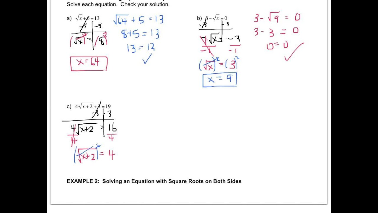 Solving Square Root Equations Algebra 2 Tessshebaylo