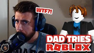 DAD TRIES ROBLOX FOR 1ST TIME?!