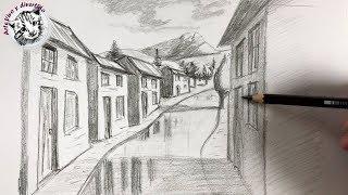 Como Dibujar Pueblo en Perspectiva de Un Punto Paso a Paso