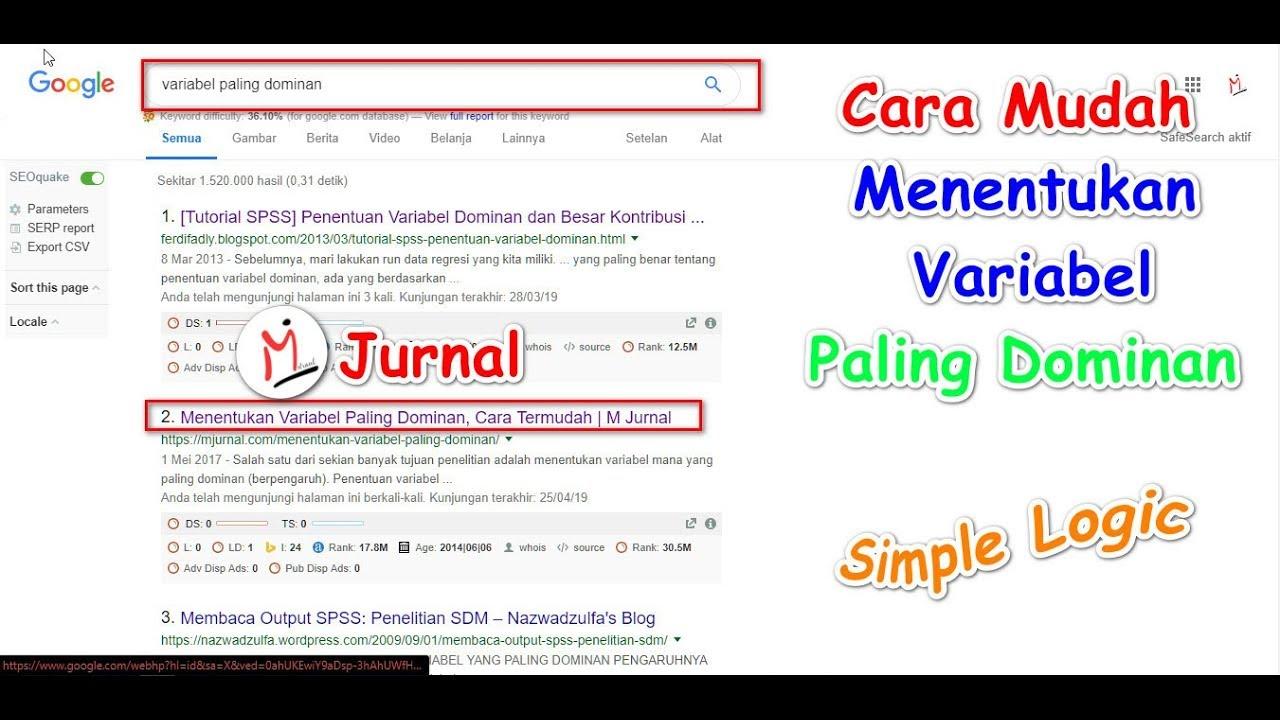 Menentukan Variabel Paling Dominan Cara Termudah M Jurnal