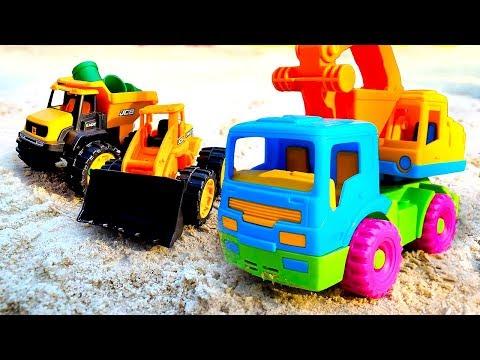 Машинки для детей— Песочница— Мультики для малышей про машины-помощники— Строим дорогу изпеска