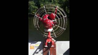 Dragonfly outboard motor idling on boat