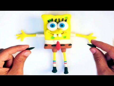 Spongebob & Superheroes Play doh STOP MOTION video for kids