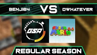 Benji64 vs Dwhatever | Regular Season | GSA SM64 70 Star Speedrun League Season 3