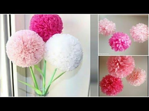 How To Make Round Tissue Paper Flower صنع باقة ورد💐من الورق✔   Tutorial