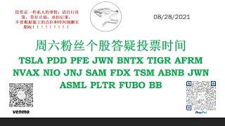 周六粉丝个股答疑投票时间 TSLA PDD PFE JWN BNTX TIGR AFRM NVAX NIO JNJ SAM FDX TSM ABNB JWN ASML PLTR FUBO BB