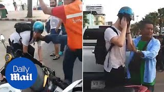Tourist kicked in the head over dispute over a scooter in Thailand - Daily Mail