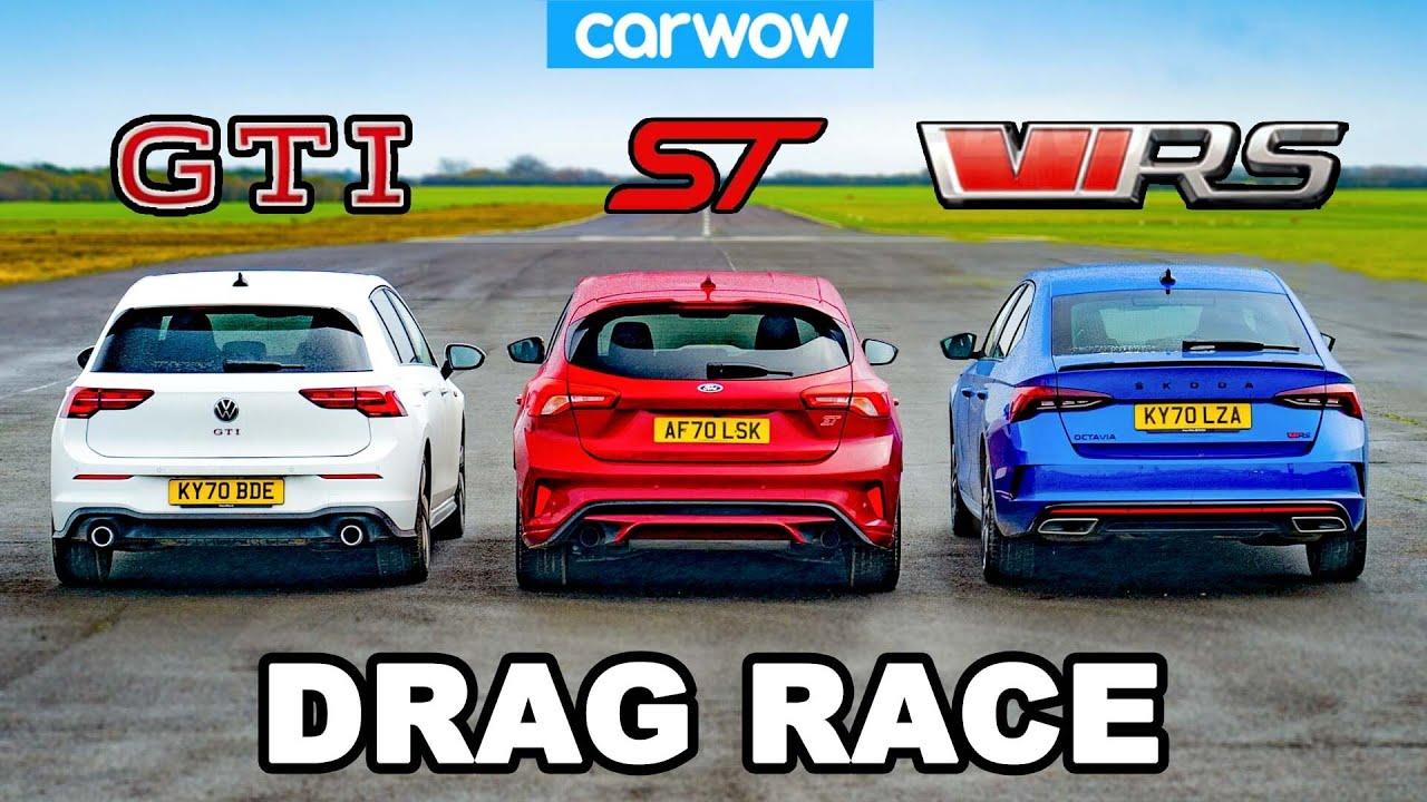 VW Golf GTI v Ford Focus ST v Skoda Octavia vRS - DRAG RACE
