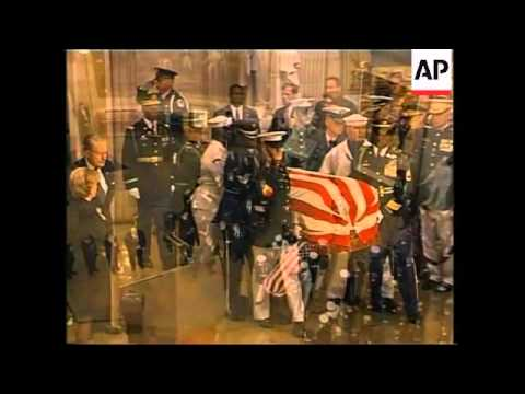 Reagan's casket in procession through DC to rotunda