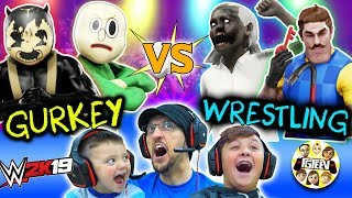 GRANNY WWE WRESTLING Buff Baldi vs FGTeeV Family Tag Team Bendy  Hello Neighbor Match