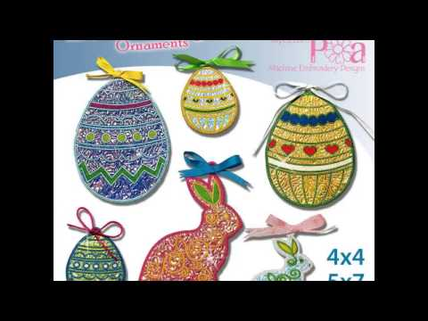 Mylar Easter Decorations 4x4 5x7 In The Hoop Machine Embroidery Design