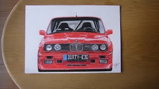 BMW E30 M3 Drawing by JH Drawings