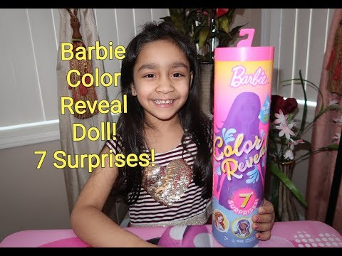New Barbie Color Reveal Doll Unboxing! 7 Surprises! Water Color Changing Hair & Makeup! (2019)