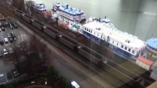 CSX Loaded Coal Train & Coal Barge, Pittsburgh, PA, Friday, 12/712