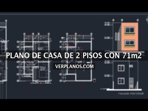 Plano de casa 2 pisos 2 dormitorios 71m2 youtube for Casa minimalista planos dwg