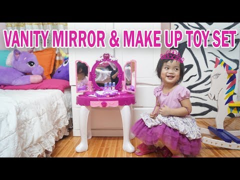 GLAMOUR VANITY MIRROR AND MAKE UP TOY SET + PRETEND PLAY #MakeUpToyforKids #YoutubeKids #ToyUnboxing