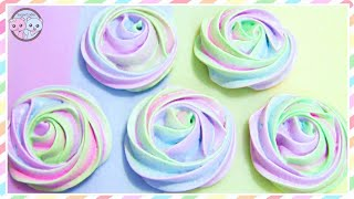 RAINBOW ROSE MERINGUE COOKIES, RAINBOW FOOD DESSERT