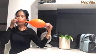 Orange Balloon 🎈 Sideways Blowing Technique   Blow To Pop (B2P)!!