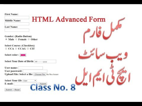 8- Complete HTML Course In UrduHindi (Advanced Form Types In HTML) - Lunar Computer College