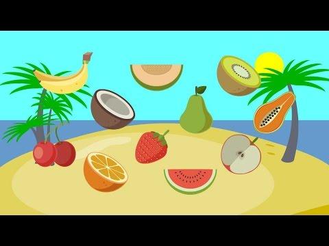 fruit   banaan kers kokosnoot oranje aardbei peer watermeloen meloen appel kiwi papaja eten voor kin