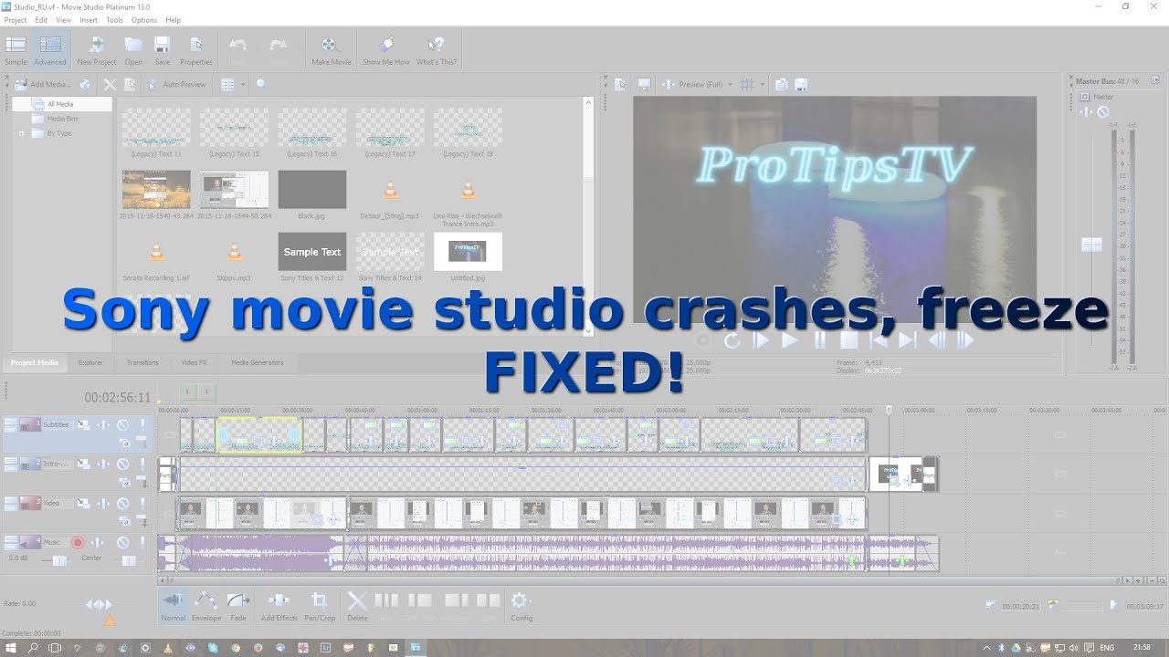 Sony Movie Studio crashes, freeze FIXED! - YouTube